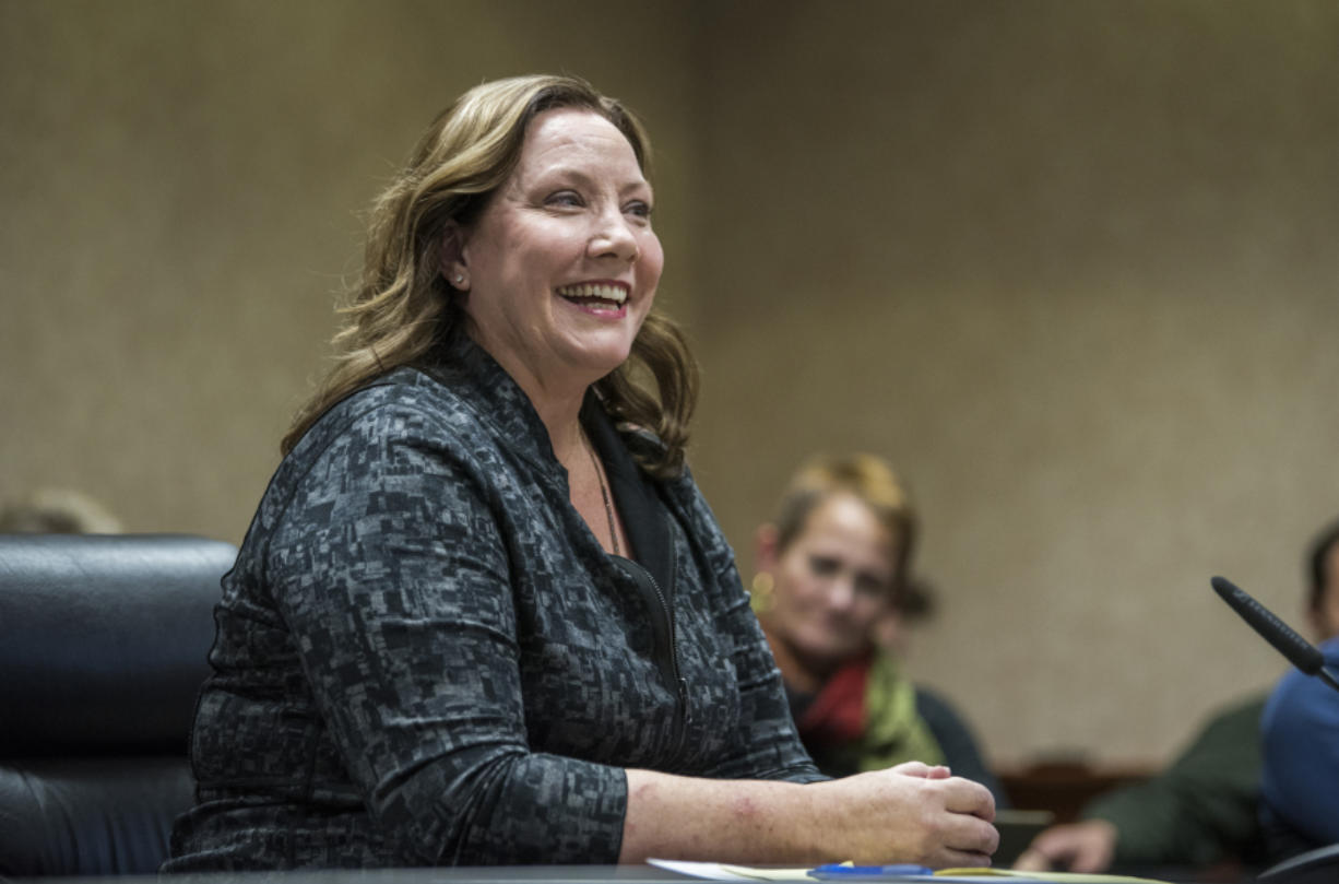 Camas City Councilor Shannon Turk speaks during her interview at a special council meeting Wednesday where she was picked to serve as the city's next mayor. She will take the oath of office at Monday's council meeting.