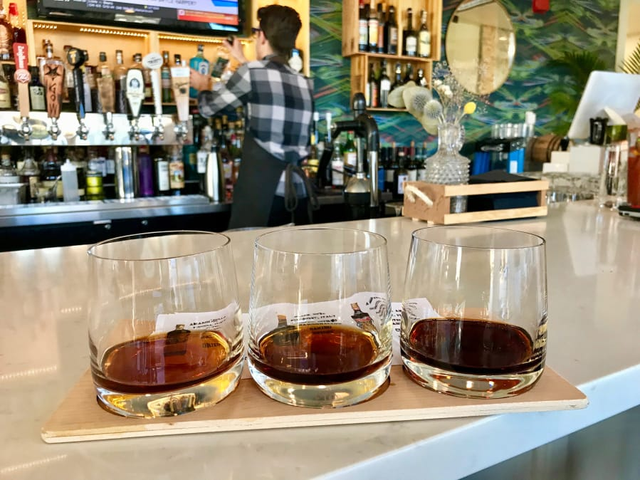 A flight of three amari await tasting at Amaro's Table in downtown Vancouver. Rachel Pinsky