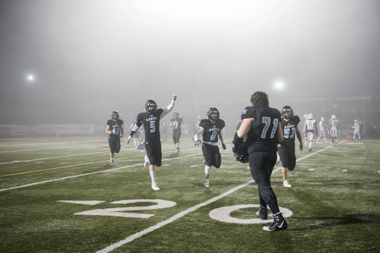 Hockinson celebrates a Steilacoom turnover during the 2A state football quarterfinals at Doc Harris Stadium in Camas on Friday, Nov. 16, 2018. Hockinson defeated Steilacoom 35-28.
