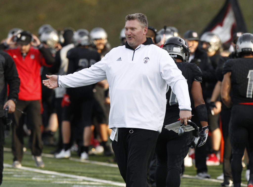 Union head coach Rory Rosenbach during game against Puyallup.