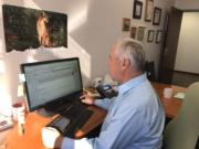 Marc Boldt works in his office.