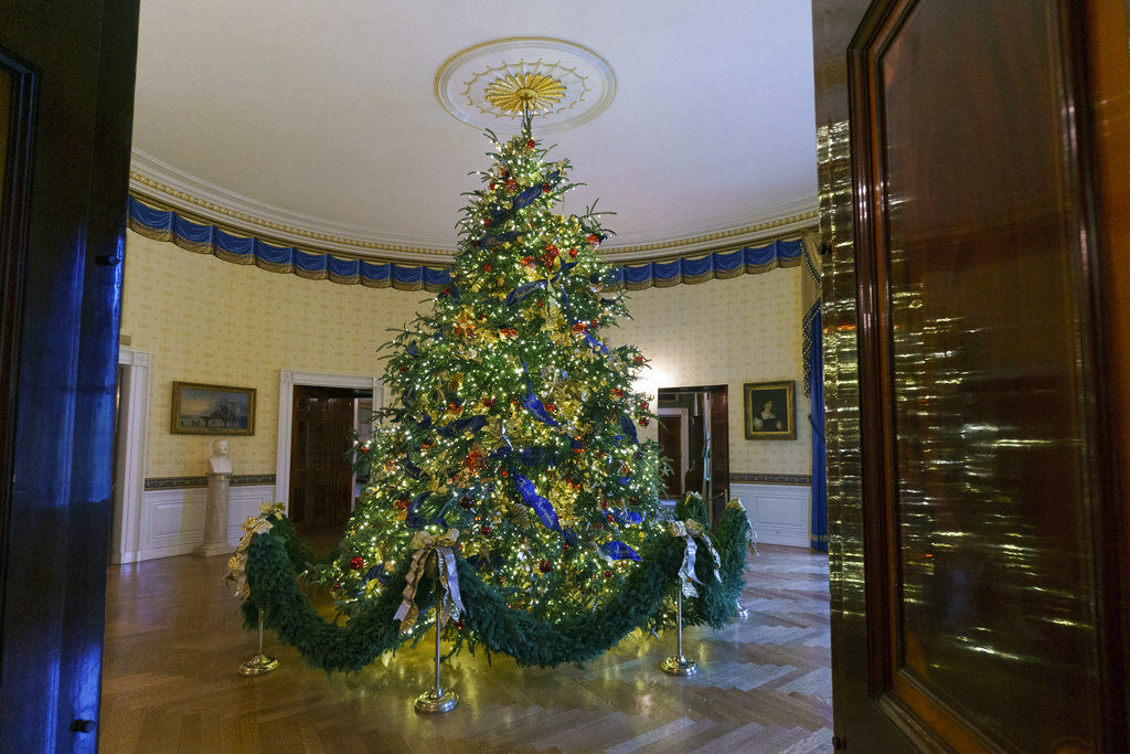 the official white house christmas tree is seen in the blue room during the 2018 christmas