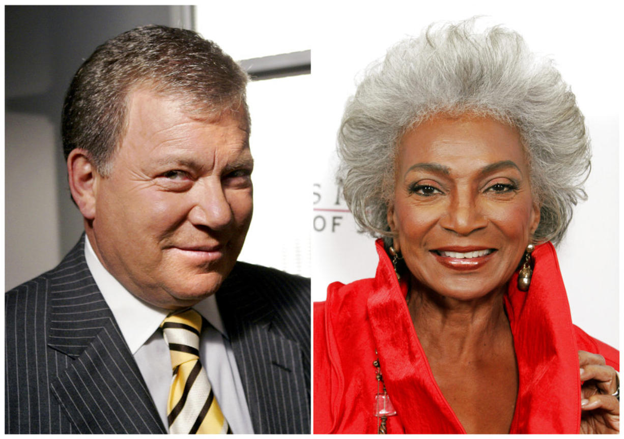 """This combination photo shows actor William Shatner on the set of ABC's """"Boston Legal"""" in Manhattan Beach, Calif., on Sept. 13, 2004, left, and actress Nichelle Nichols attending an all-star tribute concert for jazz icon Herbie Hancock in Los Angeles on Oct. 28, 2007. Fifty years ago, one year after the U.S. Supreme Court declared interracial marriage was legal, two of science fiction's most enduring characters, Captain James T."""