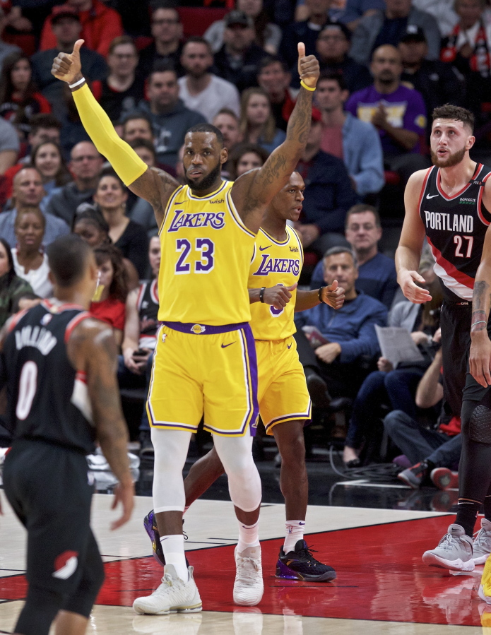 james scores 28 as lakers fend off blazers the columbian