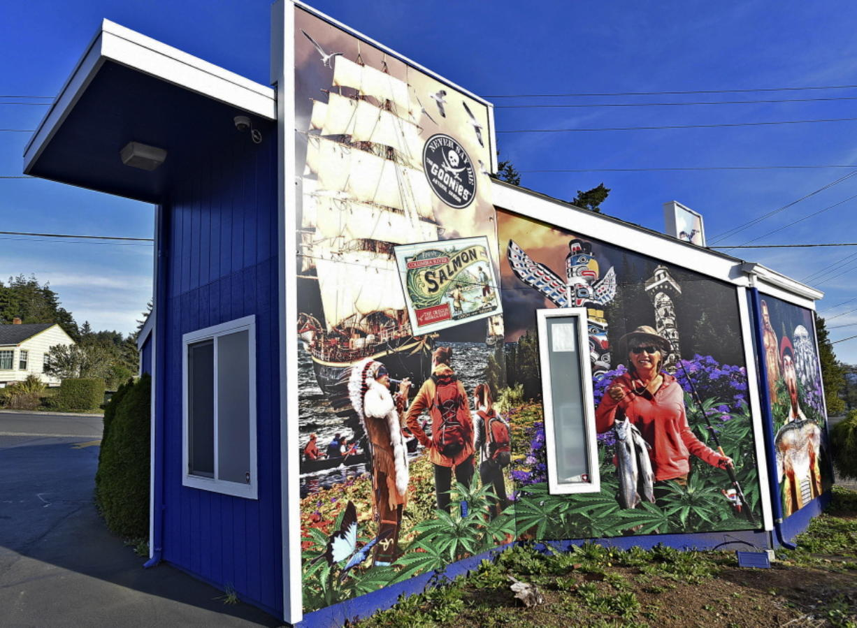 The exterior of the Mr. Nice Guy marijuana shop in Astoria, Ore., features an elaborate mural in this Nov. 12 photo. Colin Murphey/The Daily Astorian