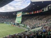 The Portland Timbers Army support group raise the tifo prior to the Timbers' playoff match against the Seattle Sounders on Sunday, Nov. 4, 2018 at Providence Park. The Timbers won the first leg 2-1.