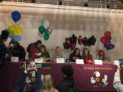 Six students sign national letters of intent to play college athletics on Wednesday at Prairie High School.
