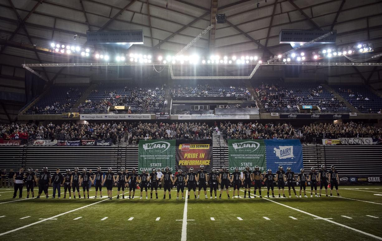 Union lines up before the Class 4A state football championship game against Lake Stevens on Saturday, Dec. 1, 2018, in Tacoma, Wash.