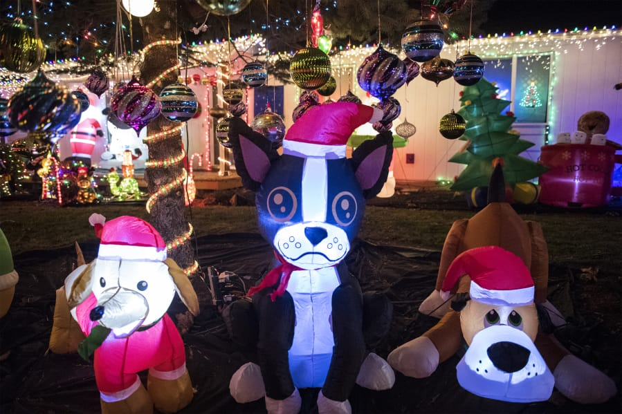 Cathy Mcguire S Inflatable Dog Pound One Section Of Her Yard Full Christmas
