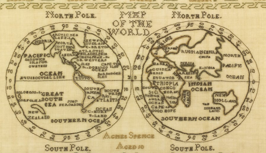 9452bd997c4c Local and national maps were common in samplers, but not both hemispheres  of the globe
