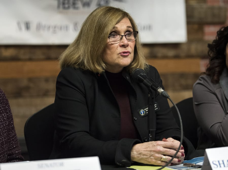 State Rep. Sharon Wylie, D-Vancouver speaks during the annual Legislative Outlook Breakfast. She said the current tax structure doesn't advance the state's economic goals and is unfavorable to manufacturing businesses. (Alisha Jucevic/The Columbian)