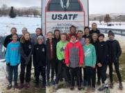 Whisper Running club members at the USATF Junior Olympic Cross Country meet in Reno, Nev., on Saturday, Dec. 8, 2018 included (left to right): Bethany McKinstry, Ava Gavora, Abby Gavora, Sara Cordova, Madeline Cooke, Sam Soto, Natalie Peddie, Abigail Rounds, Abby Wall, Kiley O'Brien, Alexis Leone, Chris Amato, Madison Wick, Lauren Amato, Charolette Wilson, Elle Thomas, Addison Crum, and Alyson Robertson.