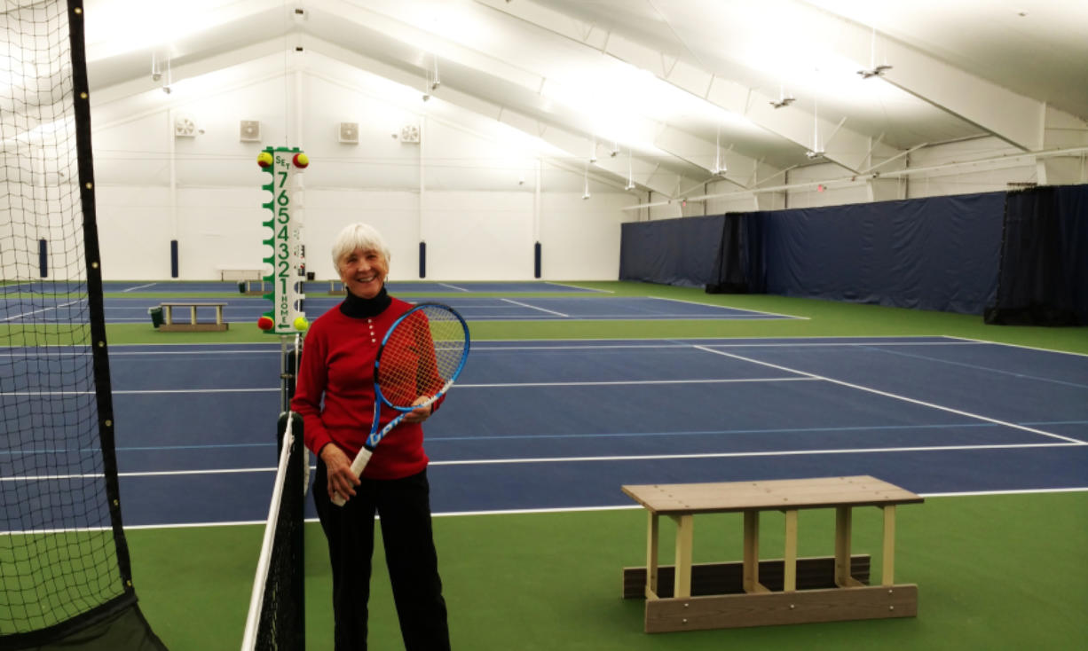 Arlene Clark, 82, at Vancouver Tennis Center on Thursday, Dec. 13, 2018. A fixture on the local tennis courts, Clark has a scholarship named after her that helps junior tennis players.