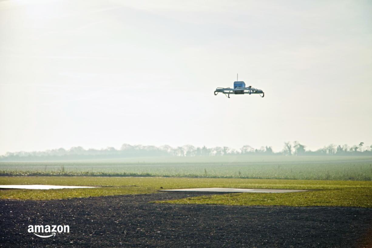 An Amazon Prime Air drone flies in 2016 in Cambridgeshire, United Kingdom.