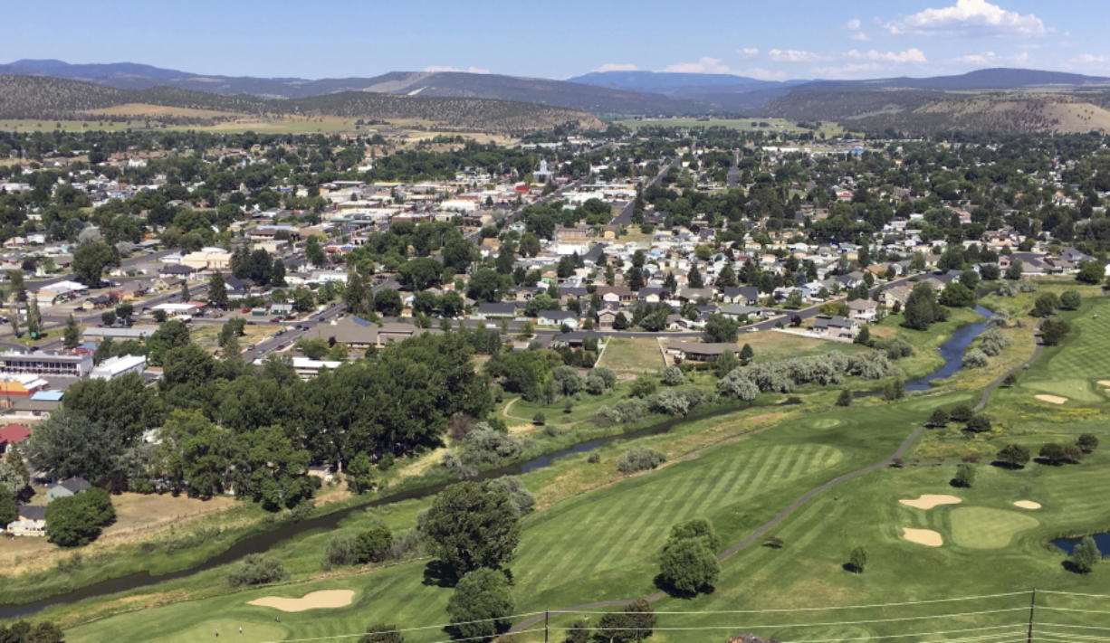 FILE--This July 1, 2016, file photo shows downtown Prineville, Ore. Apple will spend nearly $9 million to help the city of Prineville, Oregon build an underground water storage facility.