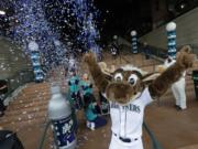 The Mariner Moose will be in Vancouver on Wednesday, Jan. 9, 2019, as part of the Seattle Mariners Caravan. (AP Photo/Ted S.