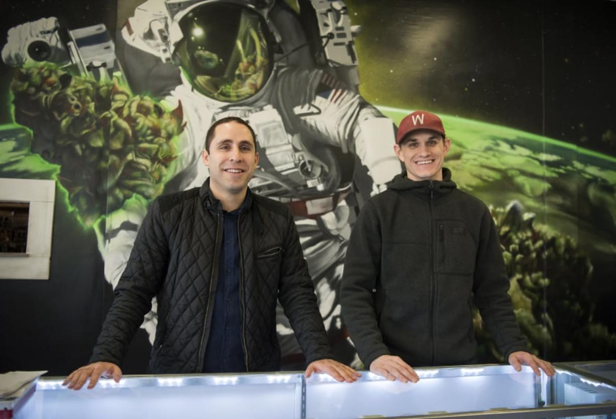 Adam Hamide, left, and Jason Keller, right, co-own Main Street Marijuana along with Hamide's brother, Ramsey Hamide. Main Street Marijuana now has two locations in Vancouver and one in Longview. The original downtown location is Washington's top-selling store. Its sales are approaching the $100 million mark.