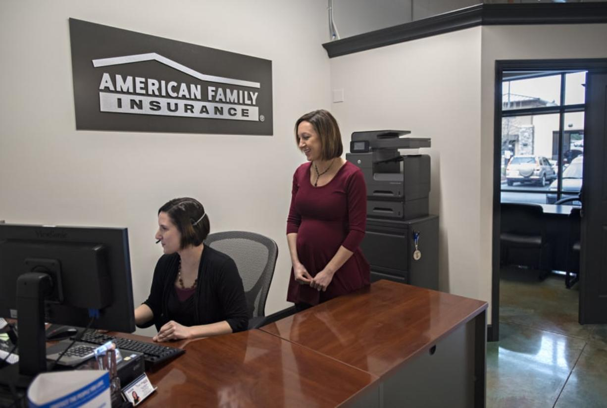 "Tina Vlachos, right, is 37 and will be a first-time mom soon. Vlachos owns an American Family Insurance agency in the Sunnyside-Walnut Grove area and plans to keep working. ""I'm not really wired to slow down,"" she said. She mirrors a national trend in which women are having children later in life."