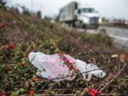 A plastic bag is seen near passing traffic on Interstate 5 near downtown Vancouver.