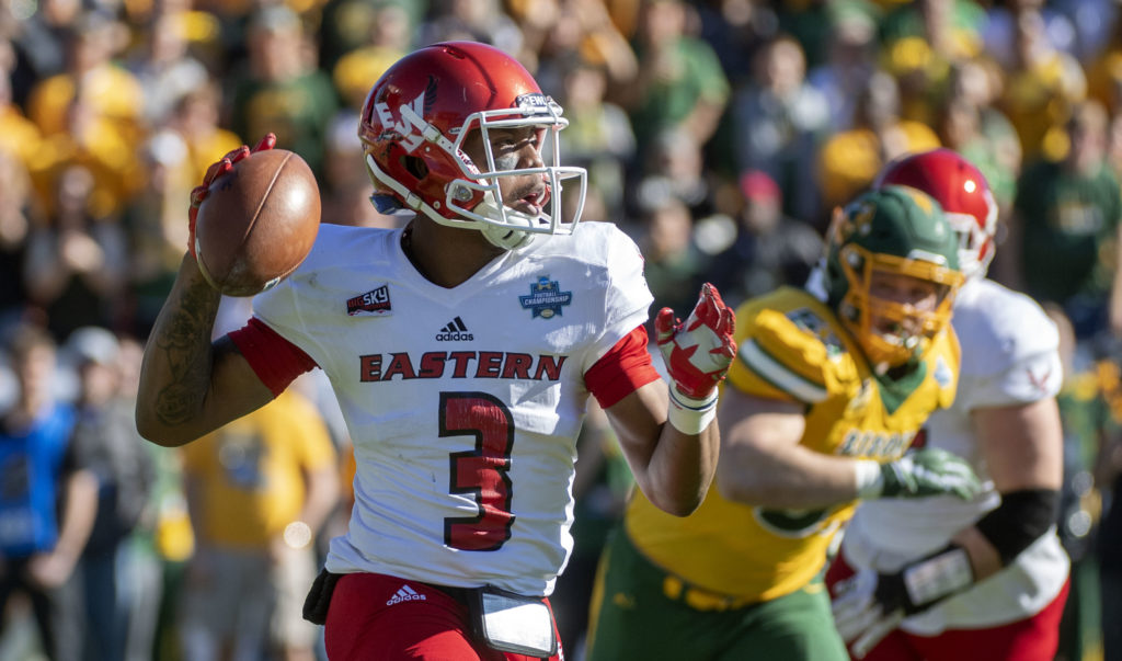 Eastern Washington quarterback Eric Barriere (3) looks to pass against North  Dakota State during 53147516e