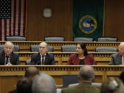 From left, House Speaker Frank Chopp, D-Seattle, Sen. Keith Wagoner, R-Sedro-Woolley, the ranking Republican on the Behavioral Health Subcommittee, Sen. Manka Dhingra, D-Redmond, chairwoman of the Behavioral Health Subcommittee, and Sen. Joe Schmick, R-Colfax, ranking Republican on the House Health Care and Wellness Committee, take part in the Mental Health Reform Panel discussion Thursday during the Associated Press Legislative Preview at the Capitol in Olympia. The Legislature opens the 2019 session on Monday.