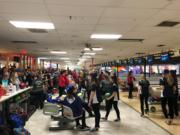 3A and 4A schools participate in the district bowling tournament at Crosley Lanes on Friday.