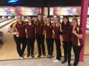 The Prairie bowling team poses after winning the 3A district title at Crosley Lanes on Friday.