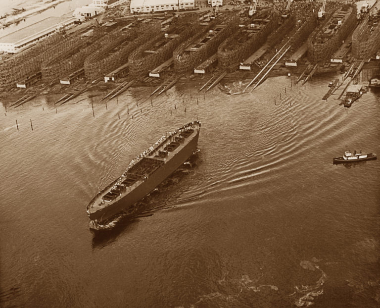 Aerial photos taken by Lev Richards, during the first ship launching at Vancouver's Kaiser shipyard on April 5, 1943. (Confluence Project)