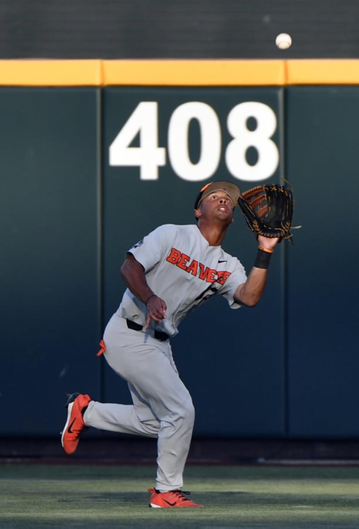 Mountain View High grad and Oregon State outfielder Preston Jones (33) is back for a fifth season with the Beavers.