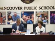 Superintendent Steve Webb and Board President Rosemary Fryer begin the Vancouver Public Schools board meeting in August 2018.