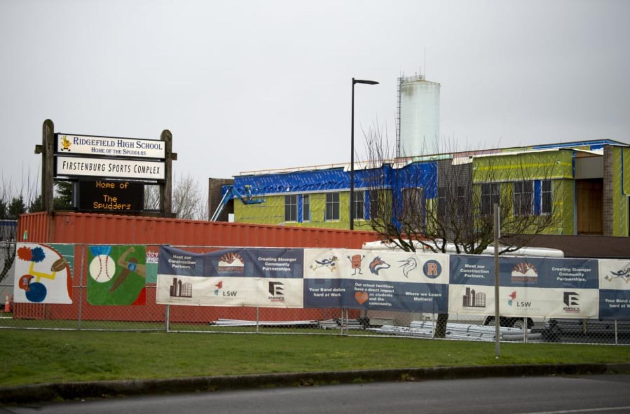 Construction at Ridgefield High School funded by the 2017 bond is seen in January. The district ran another bond, and after initial results came out Tuesday night, the bond is ahead but not passing. A bond needs a 60 percent supermajority to pass, and it sits at 57.3 percent as of Tuesday.