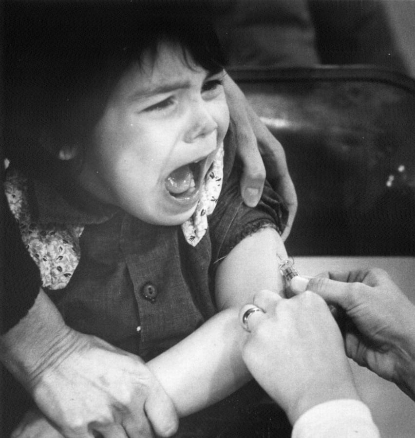 John Hernandez 4 cries as he receives a measles vaccination on Jan. 22 1977 during an outbreak