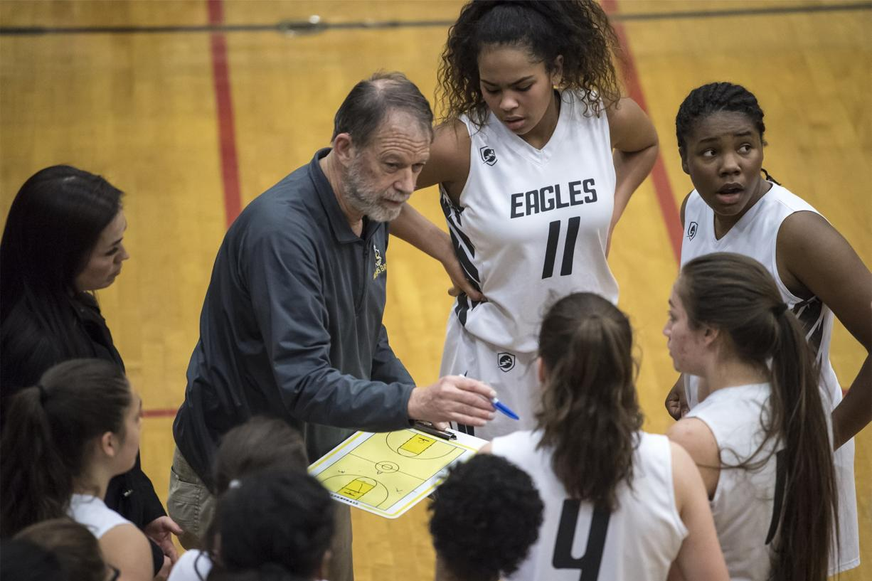 Hudson's Bay Head Coach Michael Rainville speaks to his team during a match against Capital at Hudson's Bay High School on Thursday night, Feb. 7, 2019. (Nathan Howard/The Columbian)