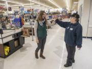 Olivia VanNatta, employment consultant with Trillium Employment Services, says goodbye to Tammi Graves at the Salmon Creek Albertsons on Feb. 15. VanNatta checks in with Graves on a weekly basis to ensure her success at the job. In April Graves will celebrate 20 years of working at Albertsons.