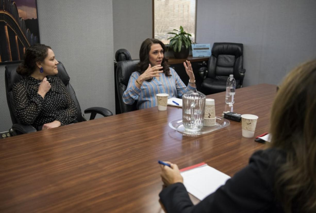 Rep. Jaime Herrera Beutler, R-Battle Ground, talks with The Columbian's Editorial Board in Vancouver on Thursday. (Alisha Jucevic/The Columbian)