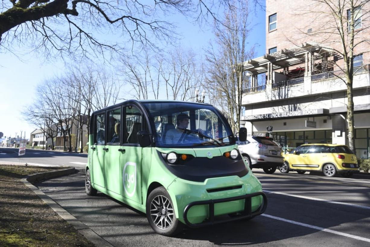 The original Ryd shuttle, parked next to Esther Short Park, was tested in March 2018 before making its debut two months later. Ryd now operates a fleet of three electric five-seat vehicles and plans to launch a ride-hailing app. The Columbian files