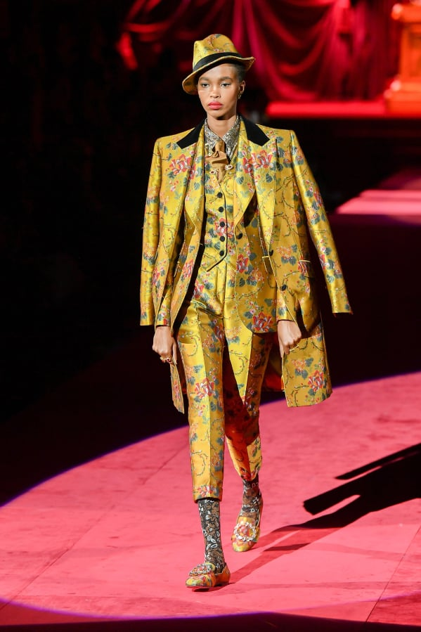 5108eae4fcd0 A model presents a creation during the Dolce & Gabbana women's Fall/Winter  2019/