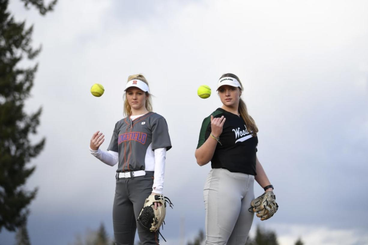 Ridgefield senior Kaia Oliver, left, and Woodland senior Olivia Grey, right, are pictured at Ridgefield High School on Tuesday, March 12, 2019.