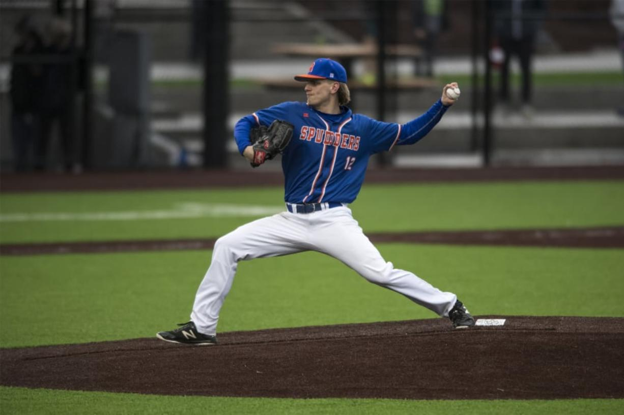 Ridgefield's Spencer Andersen pitches against Kalama at the new Ridgefield Outdoor Recreation Complex.