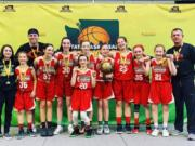 The Washington Middle School Basketball Championship Girls 6th School Gold Champion from Camas include (from left) Kahlia Richman, Raquel Dunnam, Coach Scott Thompson, Kendall Mairs, Stephanie Edwards, Aubrey Hall (in front), Bella Brustad, Sophie Buzzard, Laney Webb, Keirra Thompson, Bridget Quinn, Coach Tad Mairs.