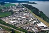 An aerial photo shows the Steigerwald Commerce Center, an industrial park owned by the Port of Camas-Washougal, east of downtown Washougal. The area has been designated as an Opportunity Zone, creating a new investment tool for developers interested in moving into the area's remaining vacant lots.