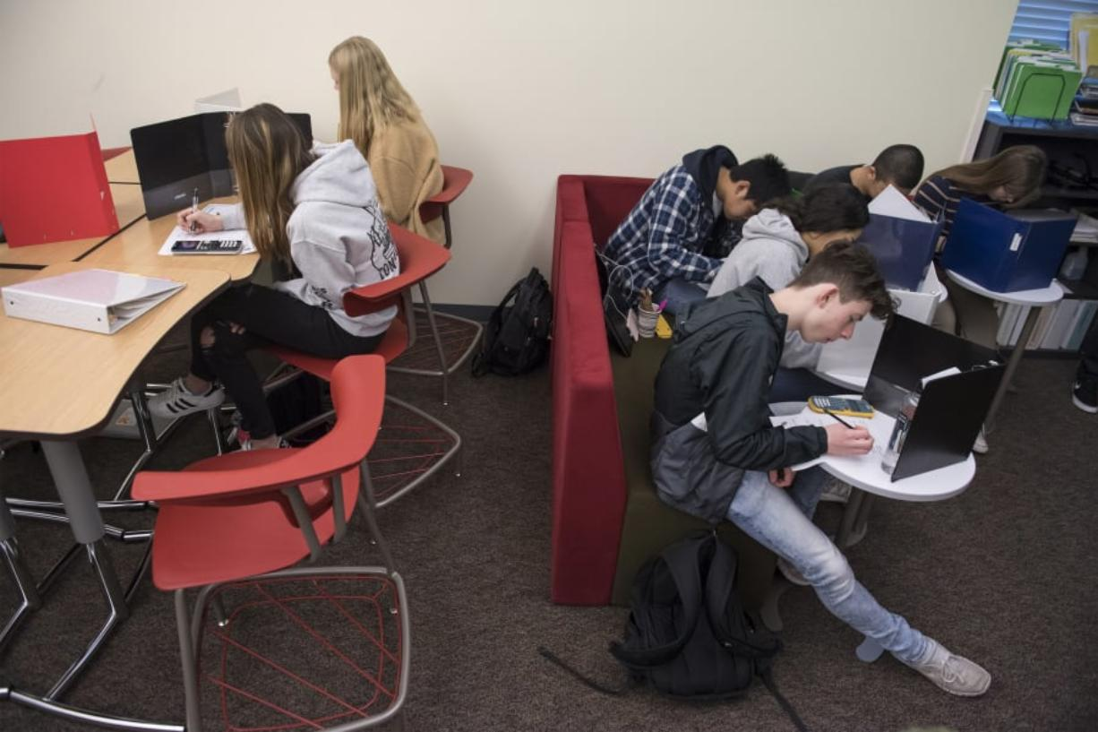 Geometry students at Union High School work in Jeff Conner's class Tuesday morning.