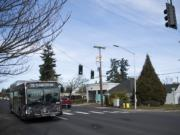 A C-Tran bus makes its way down East 33rd Street in Vancouver on Tuesday.