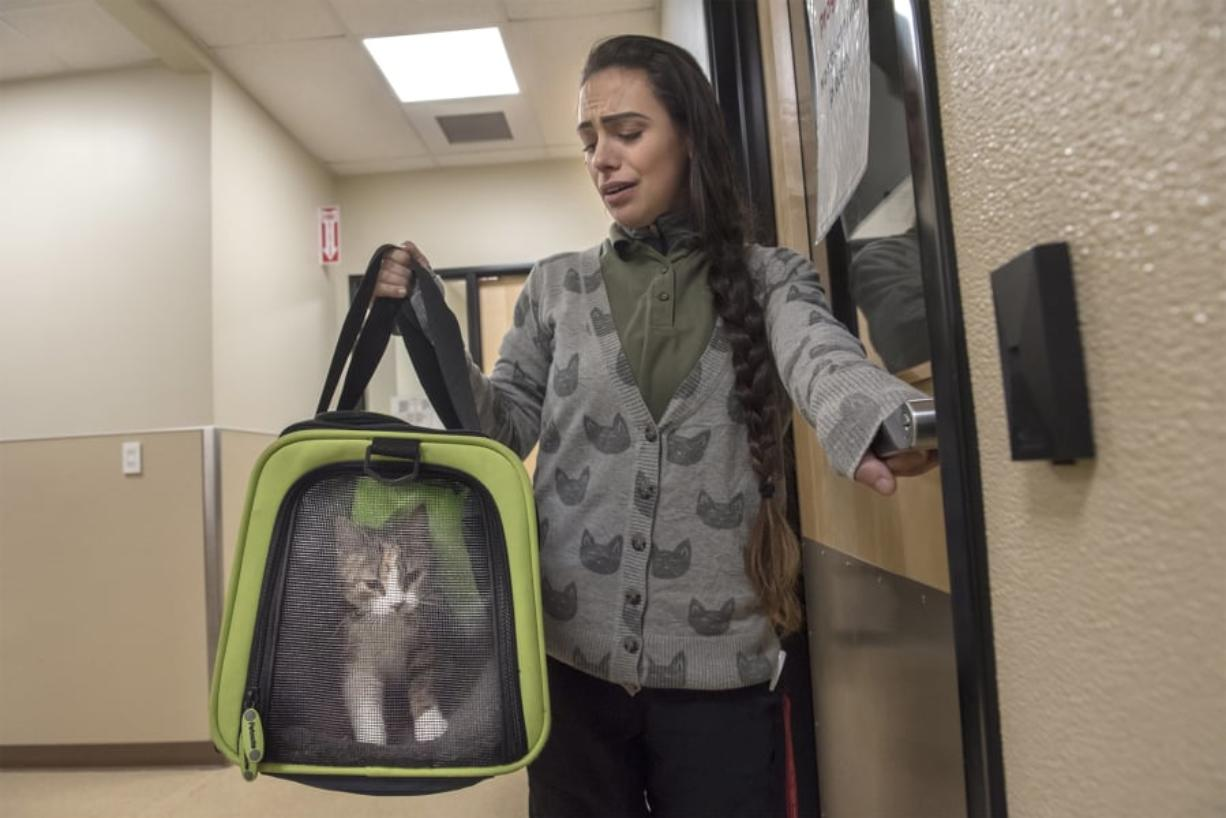 Customer Care Counselor Kristen Starr carries Cenoura, a 5-month-old kitten dropped off at the Humane Society for Southwest Washington. Starr started working at the nonprofit two years ago after initially volunteering.