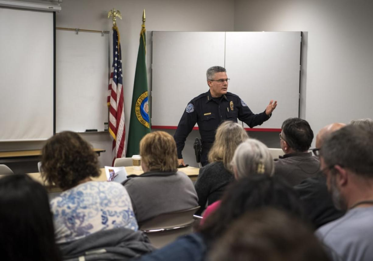 Vancouver Police Chief James McElvain speaks during a Vancouver Neighborhood Alliance meeting March 13 at Fisher's Landing Fire Station 9 in Vancouver.