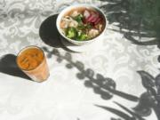 Thai tea and hot and sour soup at Lucky House.