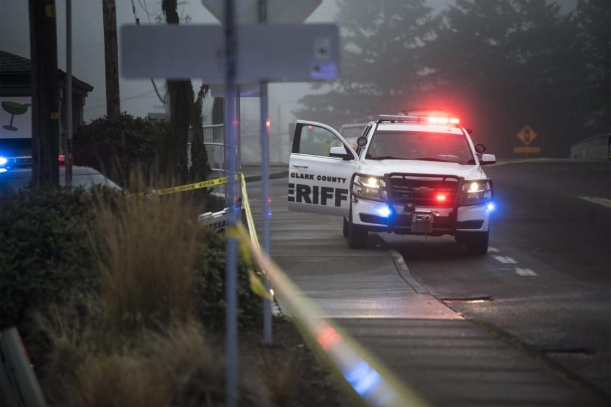 A Clark County sheriff's cruiser is seen at Pacific 63 Center following a fatal shooting in December in Hazel Dell.