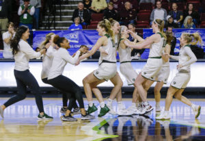 Portland State celebrates their 61-59 win over Eastern Washington in an NCAA college basketball game