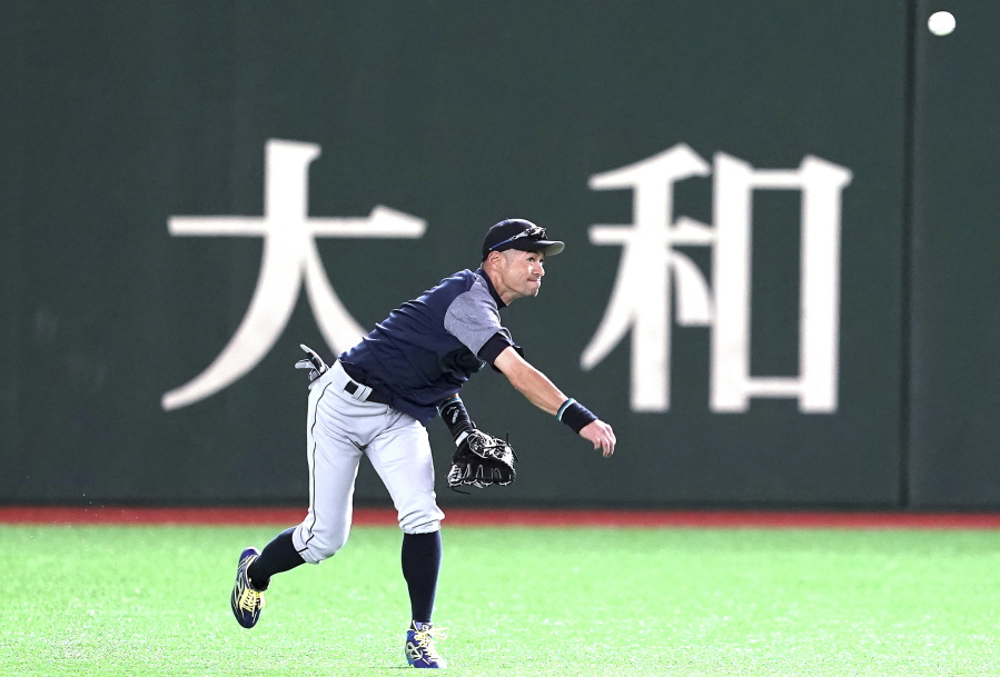 a9015a034c3 Seattle Mariners  Ichiro Suzuki warms up during his team s practice at  Tokyo Dome in Tokyo