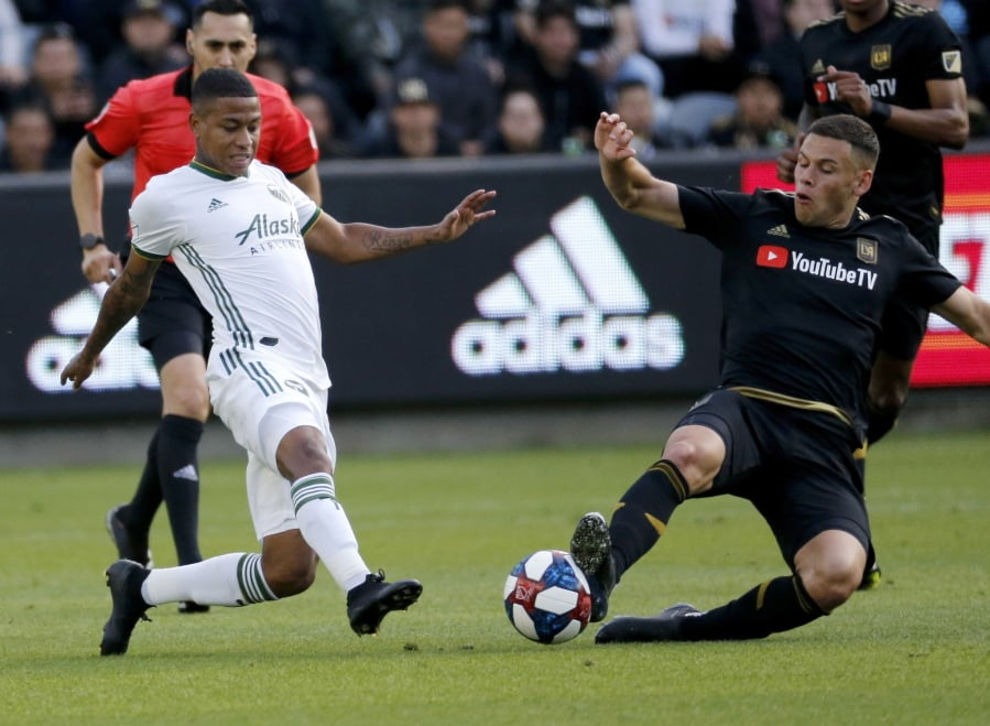 2c6decc6f97 Portland Timbers forward Andy Polo, left, of Peru, and Los Angeles FC  forward